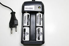 CHARGEUR RS08 + 4 BATTERIE PILE 16340 CR123 2200mAh RECHARGEABLE 3.7V ION ACCU