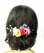 Yellow Ivory Pink Baby's Breath Sunflower Rose Hair Comb Headpiece Floral 1895