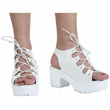 NEW WOMENS GIRLS KIDS LACE UP CLEATED BLOCK HEEL PLATFORM SANDAL SHOES SIZE 10-8