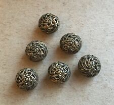 Set Of 6 Pretty Antique Victorian Brass Filigree Metal Small Round Buttons 10mm