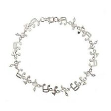 """Sterling Silver 925 Musical Notes Womens Bracelet 7.5"""""""