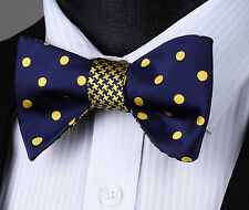 BE04Y Blue Yellow Polka Dot Double Side New Design Bowtie Men Silk Self Bow Tie