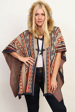 NWT Plus 3X Tribal Faux Fur Hooded Hoodie Toggle Button Knit Poncho Sweater