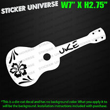 UKULELE HIBISCUS FLOWER Die Cut Decal Bumper Sticker Hawaii Hawaiian Beach 0358