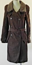 Vanessa Bruno heavy brushed cotton trench coat lambs wool collar size 4 38 EUC!
