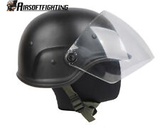 Airsoft M88 PASGT Kelver Swat Helmet with Clear Visor Black A