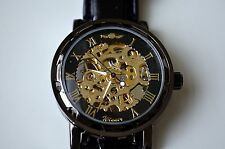 Classic Fashionable Black and Gold Mechanical Skeleton Watch