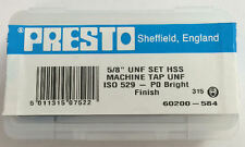 """Presto UK 5/8"""" x 18tpi HSS UNF Set of 3 taps / Direct from RDGTools"""