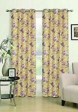 "Flower Gold JKA-44 Grommet Jacquard Window Curtain panel - 40"" Wide X 84"" Long"