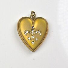 Antique Victorian Gold Filled Heart Locket Charm Crystal Paste Fleur de Lis RARE