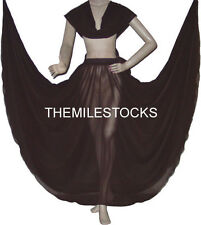 TMS Full Circle Skirt + Veil Set Belly Dance Costume Tribal Gypsy Club |25 Color