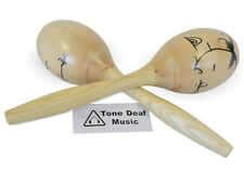 "12"" WOODEN MARACAS - Pair of Hand Painted Large Wood Maracas percussion shaker"
