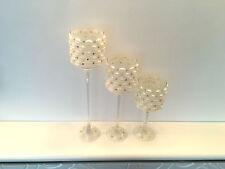 Crystal votive bougeoir ouragan mariage décor centerpieces Boîte de 3