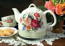 Victorian Trading Co Vintage-Style Roses Electric Hot Water Tea Kettle Ceramic