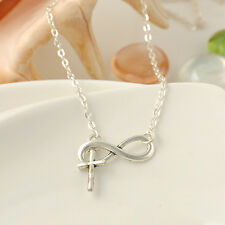 Fashion Women Cross 8 Pendant Charm Sliver Plated Chain Pendant Necklace Jewelry