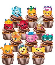 Shopkins Petkins Party Pack - 12 Edible Cup Cake Toppers Birthday Decorations