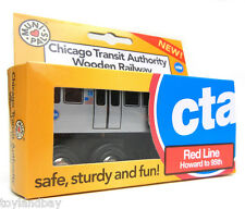 """Munipals MP03-11RD Wooden Subway """"L"""" Train Chicago CTA Red Line Howard to 95th"""