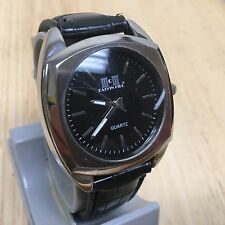 Nice Vintage Calvin Hill Men Black Leather Analog Quartz Watch Hours~New Battery