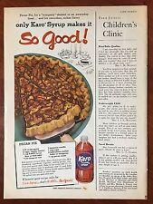 Vintage 1958 Original Print Ad KARO CORN SYRUP w/ Pecan Pie Recipe ~so good~