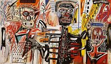 STAMPA SU TELA CANVAS JEAN MICHEL BASQUIAT  PHILISTINES 90x55 POP ART