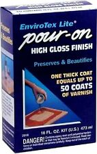 Envirotex Lite Pour-On High Gloss Finish 16oz Preserves Surfaces 4sqft Wood 2016