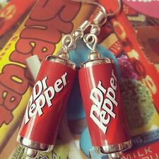 Unique DR PEPPER EARRINGS handcrafted DESIGNER drink POP soda CAN beads