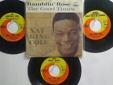 "LOT OF 4 ' NAT ""KING"" COLE' HIT 45's+1PS  [THE CHRISTMAS SONG]      THE 60's!"