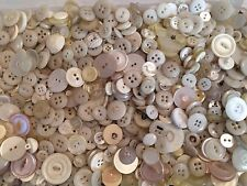 7 oz Vintage plastic buttons lot white ivory craft Free Ship