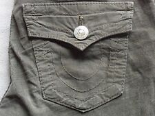 TRUE RELIGION BILLY WOMENS SLIM STRAIGHT LEG BROWN CORDUROY PANTS SIZE 26 SHORT