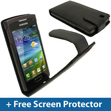 Black Leather Flip Case for Samsung Wave 3 Bada 2.0 S8600 Cover Holder Bumper