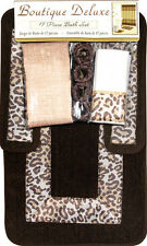 Modern Leopard Safari Animal Print 17 Pc Bath Rug Shower Curtain Hooks Towel Set