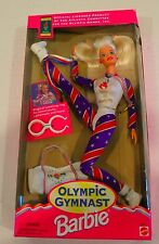 "NEW 1995 ""Olympic Gymnast"" Barbie Doll Has Tumbling Magic NRFB Red White & Blue"