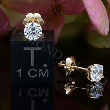 14K YELLOW GOLD 0.5 CT BRILLIANT CREATED DIAMOND EARRINGS ROUND STUDS SCREW-BACK