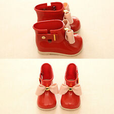 Toddler Kids Baby Girls Oversized Rain Boots With Bow Water Shoes Rainboots US 5