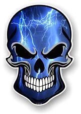 GOTHIC Biker SKULL & Blue Lightning Strike Motif vinyl car bike sticker Decal