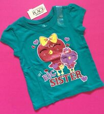 "*NEW** ""#1 BIG SISTER"" Baby Girls Graphic Shirt 2T 3T 4T Gift! ANNOUNCEMENT SS"