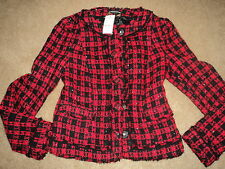 EXPRESS RED/BLACK PLAID LUREX LINED FITTED CROPPED VERY SEXY JACKET 2 NWT $168