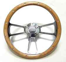 "Hot Rod Street Rod w/GM Column Chevy 14"" Chrome & Real Alderwood Steering Wheel"