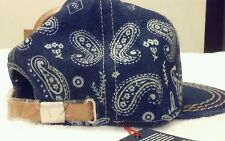 TRUE RELIGION HAT Adjustable Strapback BLUE PAISLEY Bandana Baseball Cap