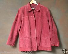 Women's Plus size Rose Suede Leather Jacket with White Stitching by Denim & Co.