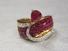 18k yellow gold Ruby ring invisible set rubies and diamonds size 8