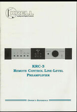 Rare Original Factory Krell KRC-3 Preamplifier Amplifier Amp Owner's Manual