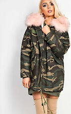 Women's Ladies Stunning Faux Fur Collar Collared Glam Coat Jacket