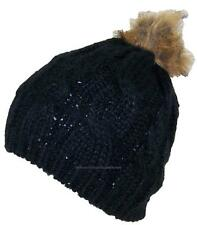 BWH Cable & Rib Knit Skull Beanie W/Sequins & Faux Fur Pom Pom, Hat, #703 Black