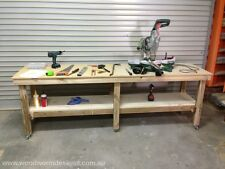 Timber Wooden Work Bench Work Table Side Table on wheels (CUSTOM MADE)