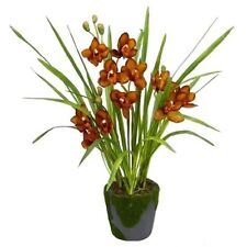 CYMBIDIUM ORCHID ARRANGEMENT IN MOSS CLAY POT - 65cm - ARTIFICIAL/FAKE - BROWN