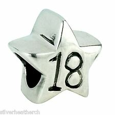 18th Birthday (18 Years Old) Sterling Silver Star Bracelet/Bangle Charm Bead