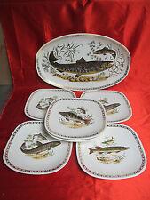 Plat 6 assiettes à poisson faïence de LONGCHAMP 4 décors différents