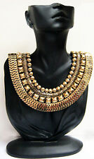NEW ANTIQUE GOLD STATEMENT COLLAR GRECIAN CHUNKY VINTAGE EGYPTIAN STYLE NECKLACE