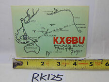 VINTAGE QSL CARD AMATEUR RADIO  HISTORY 1968 KWAJALEIN ISLAND PEARL OF PACIFIC